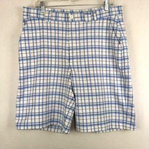 Under Armour Blue Plaid Golf Shorts Flat Front